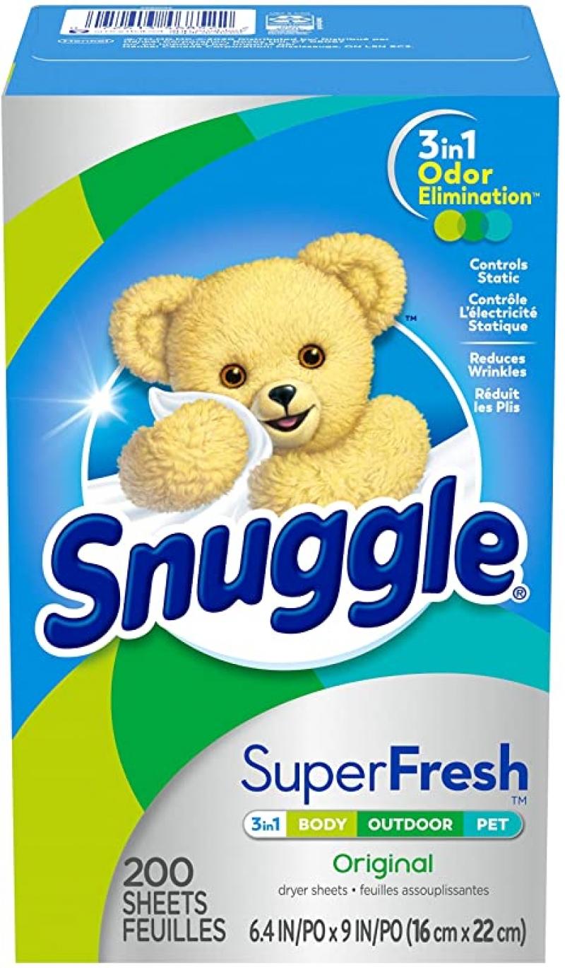 Snuggle Plus 衣物柔軟清香烘衣紙 200張 $5.59(原價$7.99)