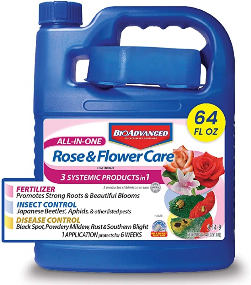 ihocon: BioAdvanced All-in-One Rose and Flower Care Plant Fertilizer, Insect Killer, and Fungicide, 64-Ounce, Concentrate 多合一玫瑰和花卉肥料/殺蟲劑/殺菌劑