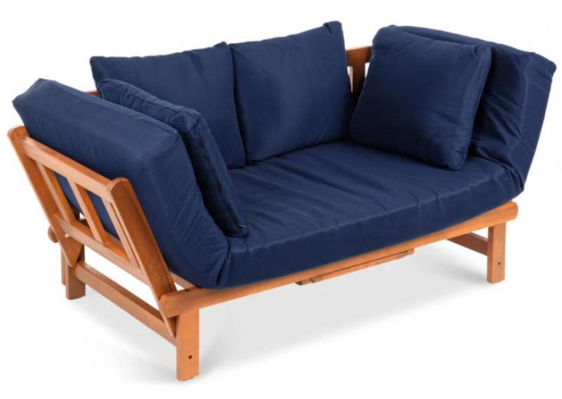ihocon: Best Choice Products Outdoor Convertible Acacia Wood Futon Sofa w/ 4 Pillows, Removable Cushion 室外沙發床