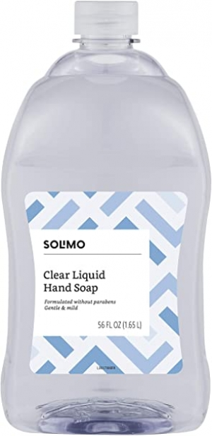 ihocon: [Amazon自家品牌] Solimo Gentle & Mild Clear Liquid Hand Soap  Refill, Triclosan-free, 56 Fluid Ounce 洗手液皂