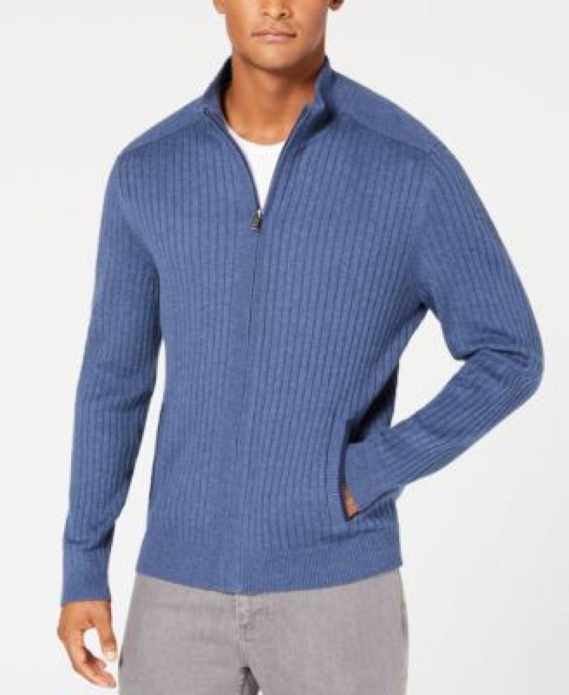 ihocon: Alfani Men's Ribbed Full-Zip Sweater 男士拉鍊毛衣 - 多色可選