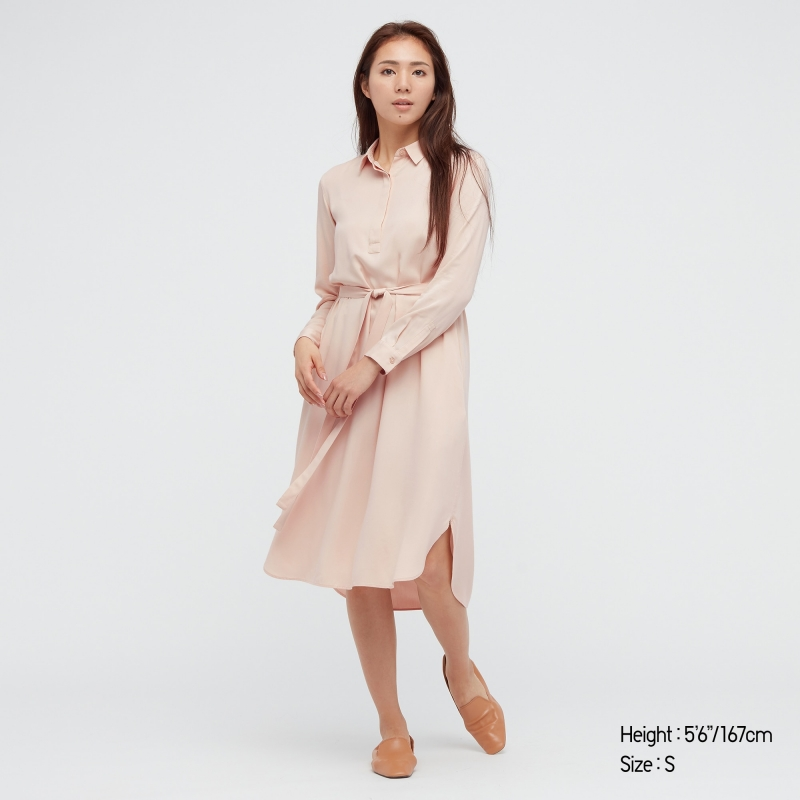 ihocon: WOMEN RAYON LONG-SLEEVE SHIRT DRESS 女士長袖洋裝