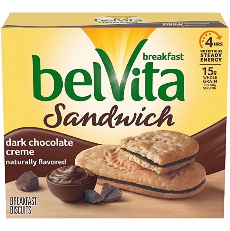 ihocon: belVita Sandwich Dark Chocolate Creme Breakfast Biscuits, 5 Packs (2 Sandwiches Per Pack) 黑巧克力夾心餅乾