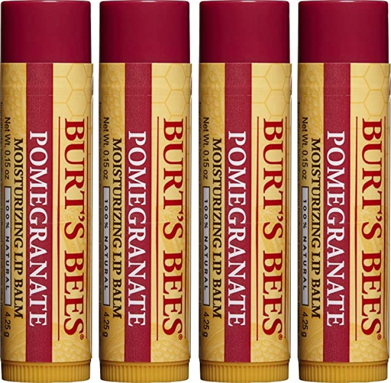 ihocon: Burt's Bees 100% Natural Moisturizing Lip Balm, Pomegranate with Beeswax and Fruit Extracts - 4 Tubes 潤唇膏