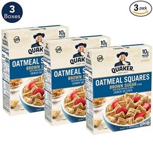 ihocon: Quaker Oatmeal Squares Breakfast Cereal, Original Brown Sugar, 14.5oz Boxes (Pack of 3)
