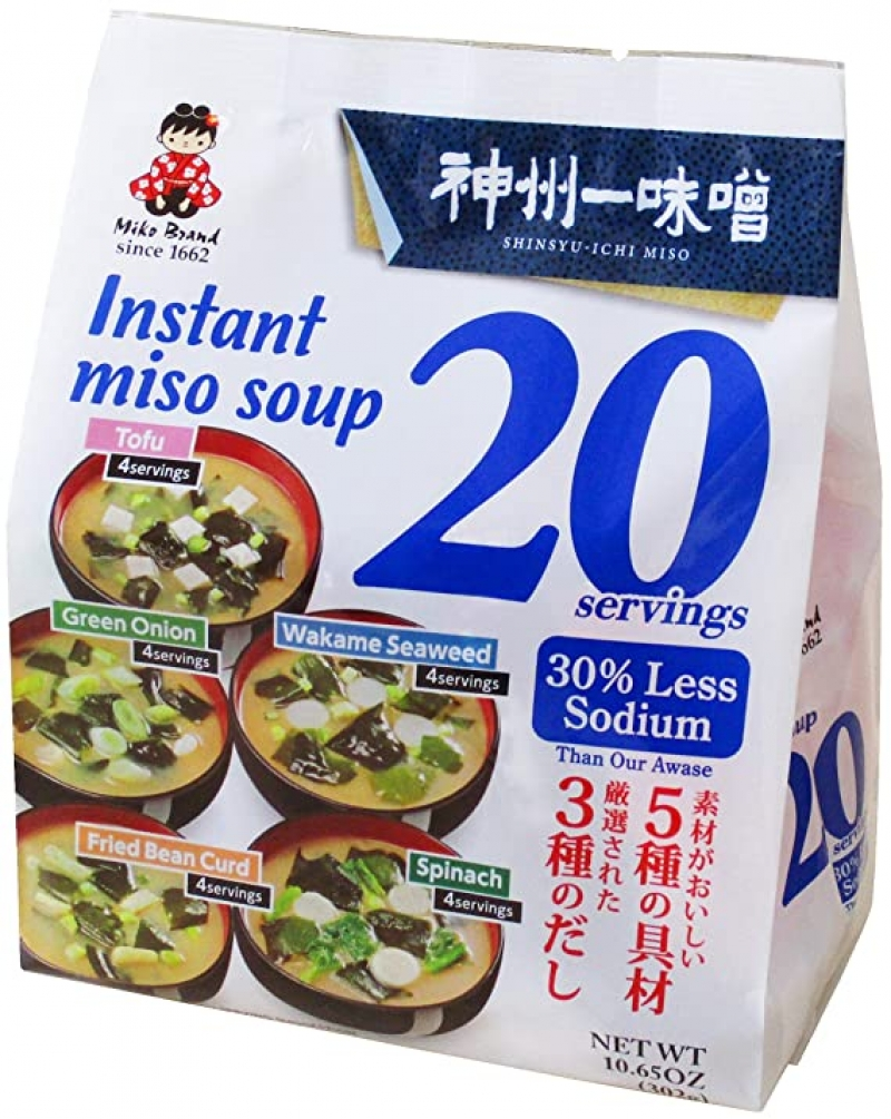 ihocon: Miyasaka Instant Miso Soup Awase-Variety-30% Less Sodium, 11.82 Ounce 速食味噌湯