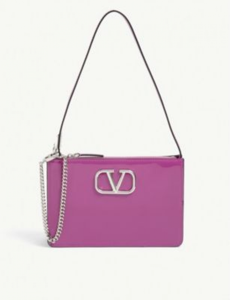 ihocon: VALENTINO GARAVANI V-logo patent leather mini shoulder bag 亮皮迷你單肩包
