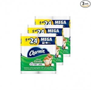 [新低價, 18個等於72個的份量] Charmin 廁所捲筒衛生紙 18個Mega Rolls $16.77(原價$21.96)