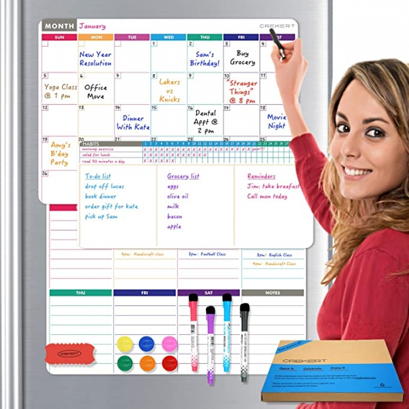 ihocon: Crekert Dry Erase Calendar Magnetic All in One Whiteboard (17x12 (2) + 12x5.8) 4合1磁性日曆白板