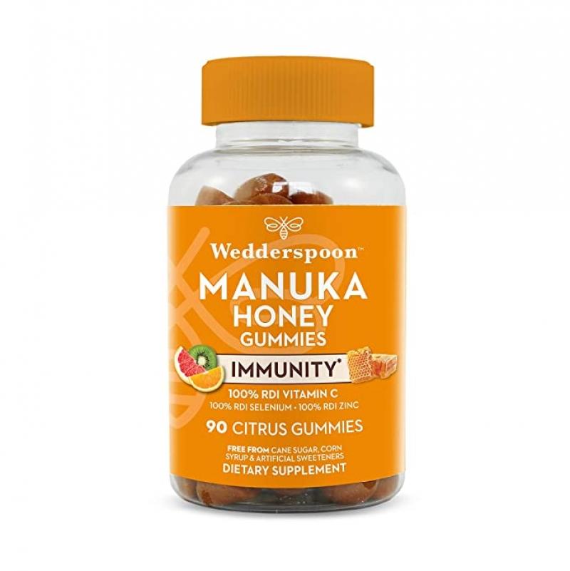 ihocon: Wedderspoon Manuka Honey Immunity Gummies, Vitamin C & Zinc Support, 90 Chewables 麥盧卡蜂蜜免疫強化軟糖