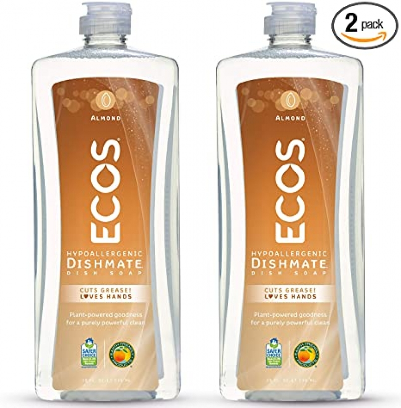 ihocon: ECOS Non-Toxic Hypoallergenic Dishmate Dish Soap, Almond, 25oz Bottle by Earth Friendly Products (Pack of 2) 無毒環保洗碗精