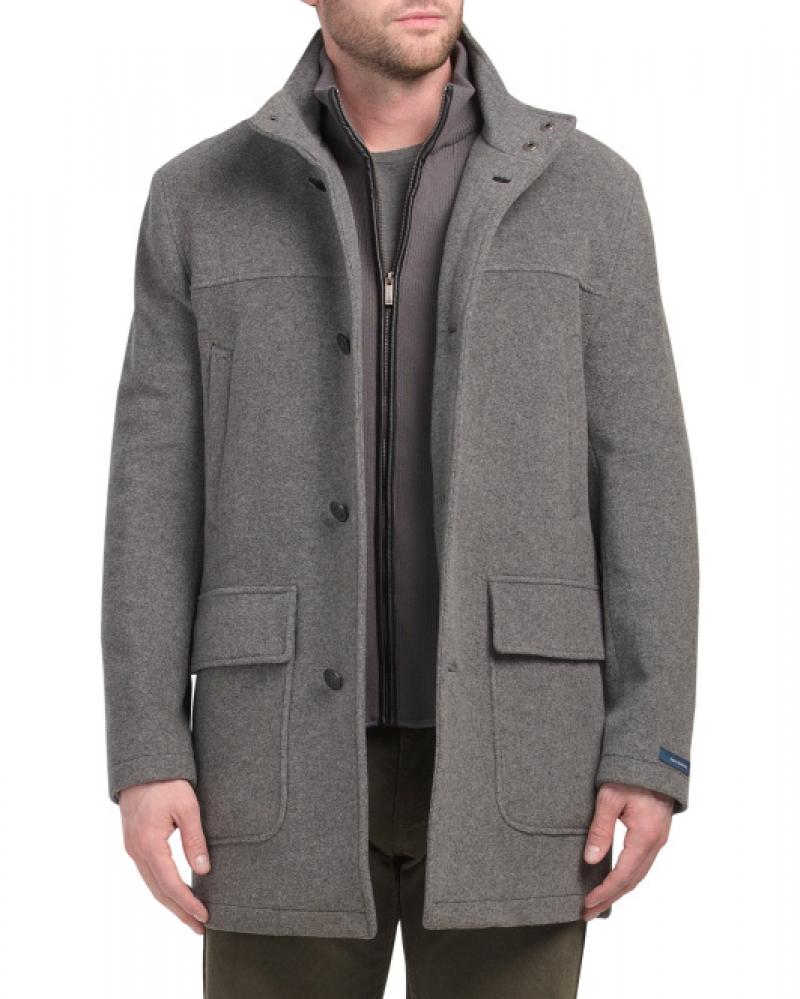 ihocon: COLE HAAN Wool Blend Three Button Coat With Double Pockets男士羊毛混紡大衣