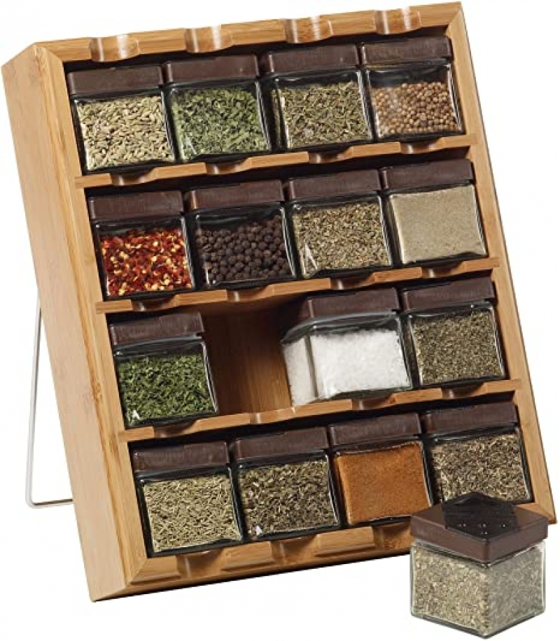 ihocon: Kamenstein 16-Cube Bamboo Inspirations Spice Rack with Leaf Labels  竹製香料架