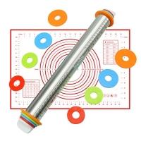 ihocon: JingooBon Adjustable Stainless Steel Rolling Pins and Pastry Mat 可調厚度不銹鋼擀麵杖及製麵墊