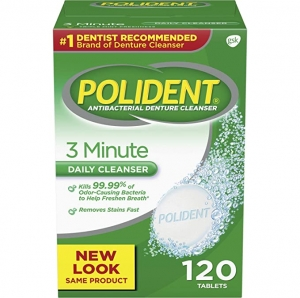 ihocon: Polident 3 Minute Triple Mint Antibacterial Denture Cleanser Effervescent Tablets, 120 count 抗菌假牙清潔片