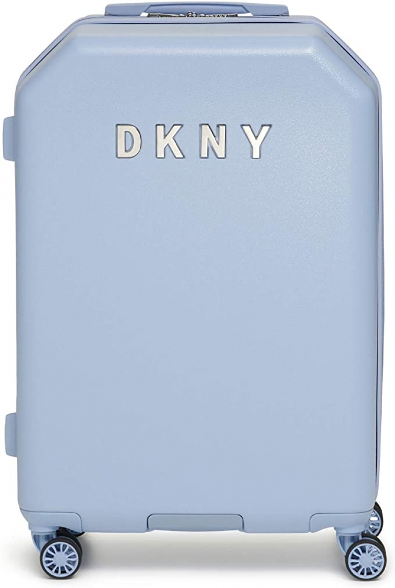 ihocon: DKNY Metal Logo Hardside Spinner Luggage with TSA Lock, Light Blue, Carry-on 21吋硬殼行李箱