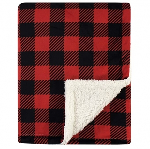 ihocon: Hudson Baby Unisex Baby Plush Blanket with Sherpa Back, Buffalo Plaid, One Size   嬰兒毛毛毯