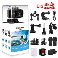ihocon: WONGKUO 4K 20MP Ultra HD EIS Anti-shake Sport Camera Waterproof 170°Wide-Angle WiFi Camcorder with External Microphone & Remote Control & Mounting Accessories Kit(Standard) 超高清防抖運動相機及配件