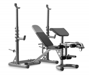ihocon: Weider XRS 20 Adjustable Olympic Workout Bench with Independent Squat Rack and Preacher Pad