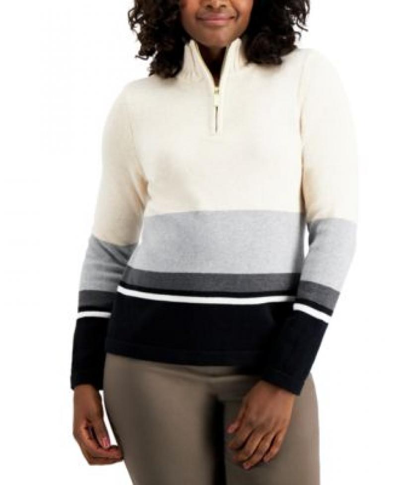 ihocon: Karen Scott Striped Zip-Up Sweater 女士毛衣