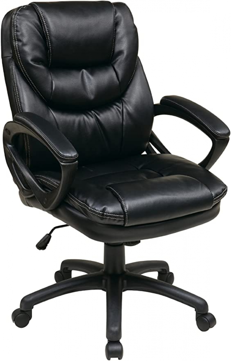 ihocon: Office Star Faux Leather Manager's Chair with Padded Arms仿皮辦公椅/電腦椅
