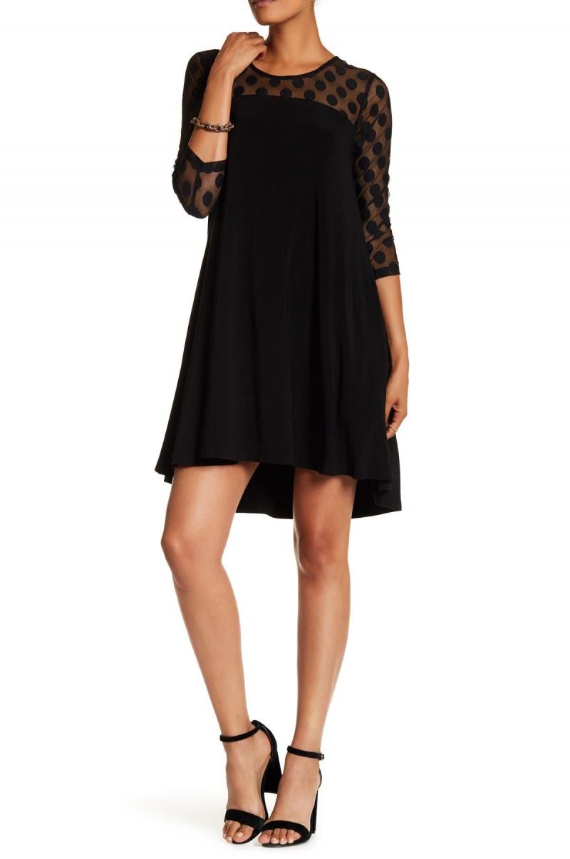 ihocon: Nina Leonard Polka Dot Illusion 3/4 Sleeve Swing Dress 女士七分袖洋裝
