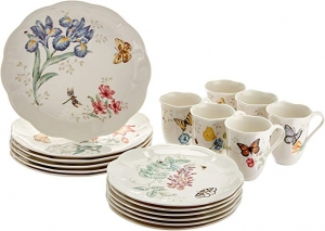 ihocon: Lenox Butterfly Meadow 18-Piece Dinnerware Set, Service for 6, White 18件餐盤組