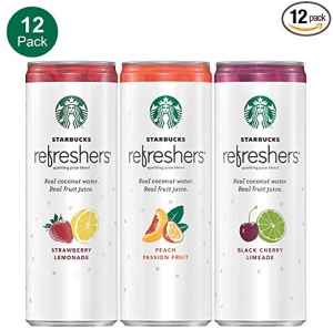 ihocon: Starbucks Refreshers Sparkling Juice Blends, 3 Flavor Variety Pack with Coconut Water, 12  Fl. Oz, 12 Cans 氣泡果汁