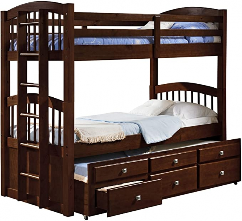 ihocon: Donco Kids 134-3-Ttcp Angelica Captains Trundle Bunk Bed 木製單人雙層床