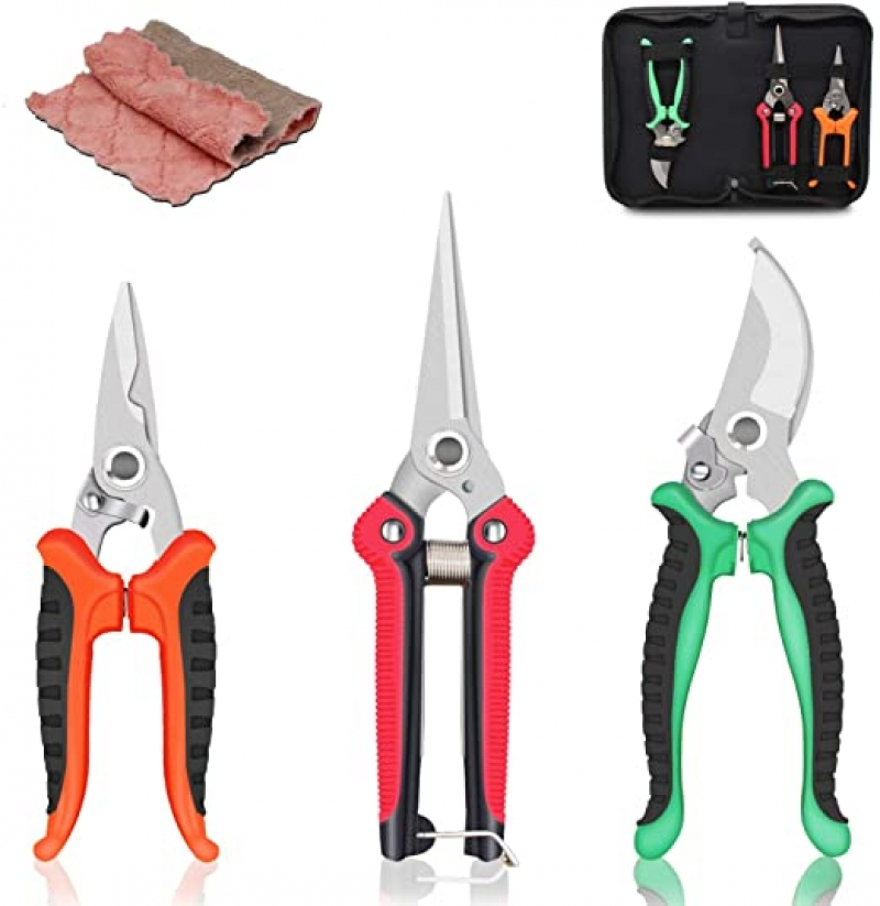 ihocon: SUMYOUNG Steel Pruning Shears, 3 Pcs Include a Storage Bag 園藝剪3把+收納袋