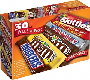 ihocon: M&M'S, SNICKERS, 3 MUSKETEERS, SKITTLES & STARBURST Full Size Chocolate Candy Variety Mix 56.11-Ounce 30-Count Box 巧克力