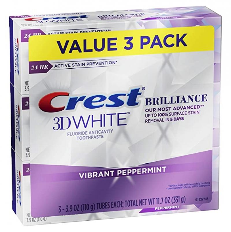 Crest 3D White 牙膏 3.9 oz 3條 $7.99(原價$14.99)