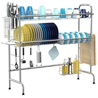 ihocon: iSPECLE 2-Tier Large 201 Stainless Steel Dish Rack with Utensil Holder 不銹鋼水槽碗盤架