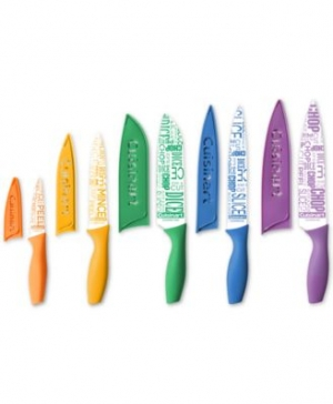 ihocon: Cuisinart 10-Pc. Ceramic-Coated Printed Cutlery Set with Blade Guards 陶瓷塗層刀組