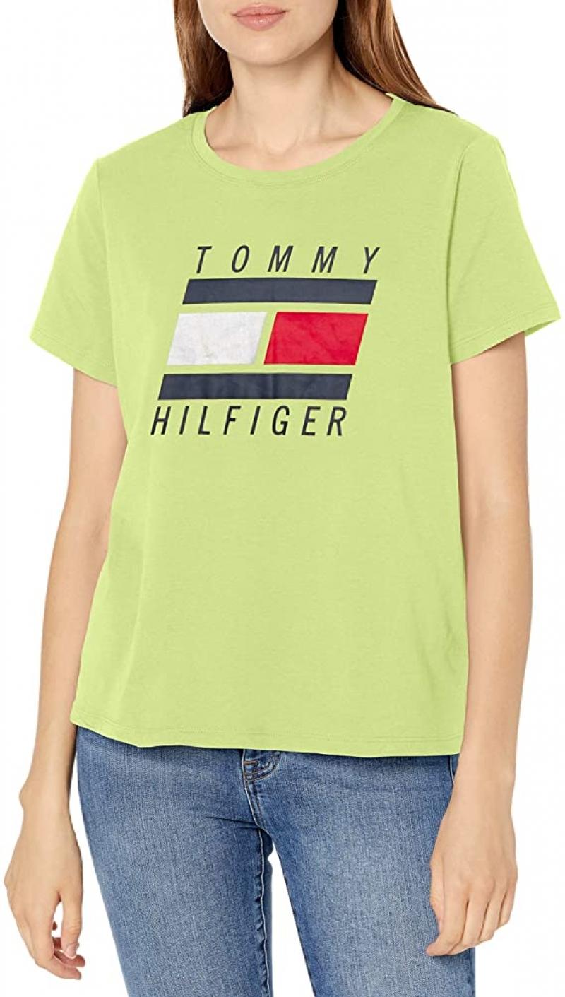 ihocon: Tommy Hilfiger Women's Short Sleeve Scoop Neck Embroidered Logo T-shirt  女士短袖衫