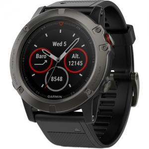 ihocon: Garmin fenix 5X Sapphire Edition Multi-Sport Training GPS Watch (Slate Gray, Black Band)藍寶石智能GPS運動錶