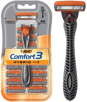 ihocon: BIC Comfort 3 Hybrid Men's 3-Blade Disposable Razor, 1 Handle and 12 Cartridges   3 男士刮鬍刀, 含12個替換刀頭