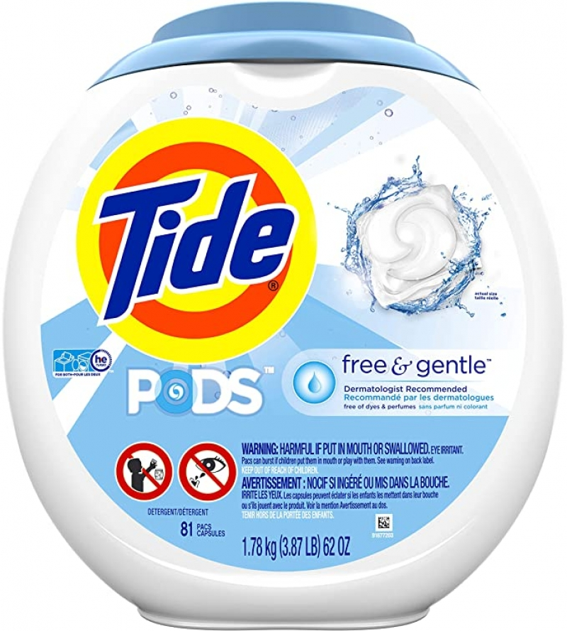 ihocon: Tide Free and Gentle Laundry Detergent Pods, 81 Count洗衣膠囊