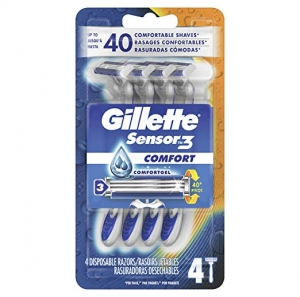 ihocon: Gillette Sensor3 Smooth Shave Disposable Razor, 4 Count 男士抛棄式刮鬍刀