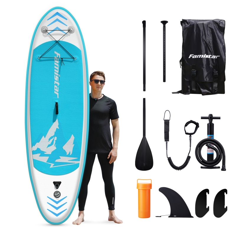 ihocon: Famistar 8'7 Inflatable Stand Up Paddle Board SUP w/ 3 Fins, Adjustable Paddle, Pump & Carrying Backpack 充氣站立槳板及配件