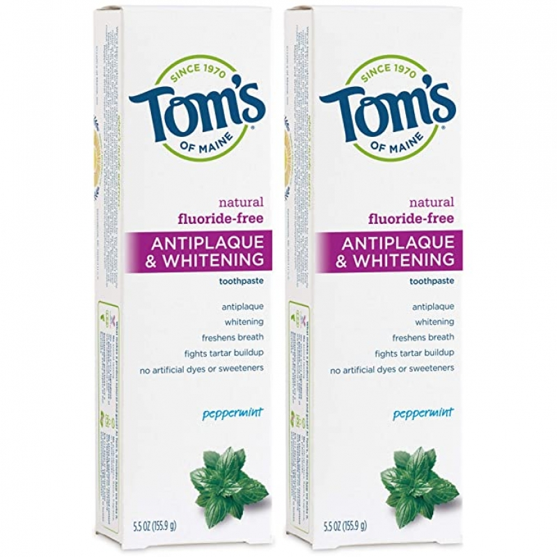ihocon: Tom's of Maine Fluoride-Free Antiplaque & Whitening Natural Toothpaste, Peppermint, 5.5 oz. 2-Pack 無氟美白牙膏
