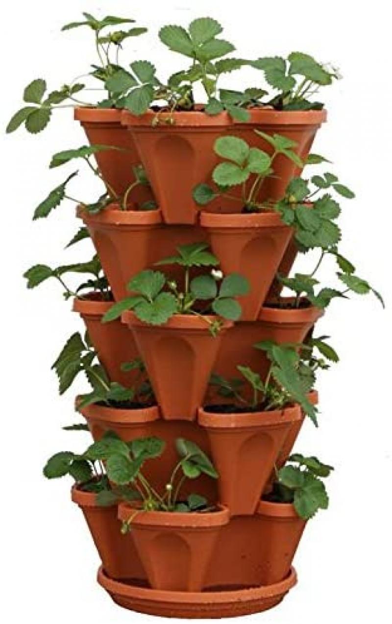 ihocon: Mr. Stacky 5-Tier Strawberry Planter Pot, 5 Pots . 五層疊疊盆