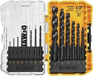 ihocon: DEWALT DWA1184 14Piece Set Black Oxide Coated HSS Twist Drill Bit Set 電鑽鑽頭