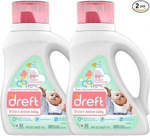 ihocon: Dreft Stage 2: Active Hypoallergenic Liquid Baby Laundry Detergent for Baby, Newborn, or Infant, 50 Ounces(32 Loads), 2 Count 嬰兒洗衣精