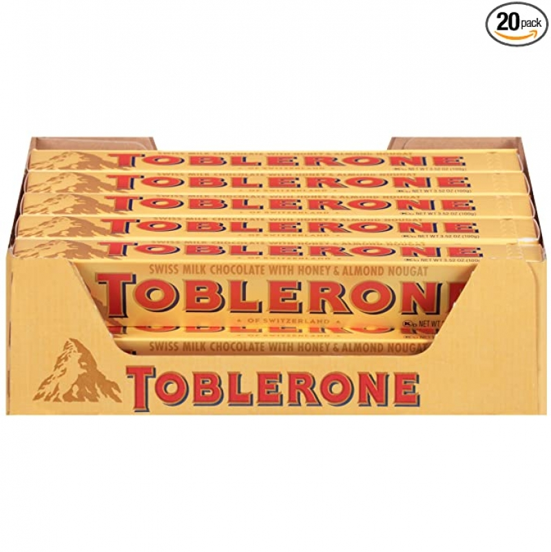 ihocon: Toblerone Swiss Milk Chocolate with Honey & Almond Nougat, 3.52 Ounce Bars (Pack of 20) 牛奶巧克力