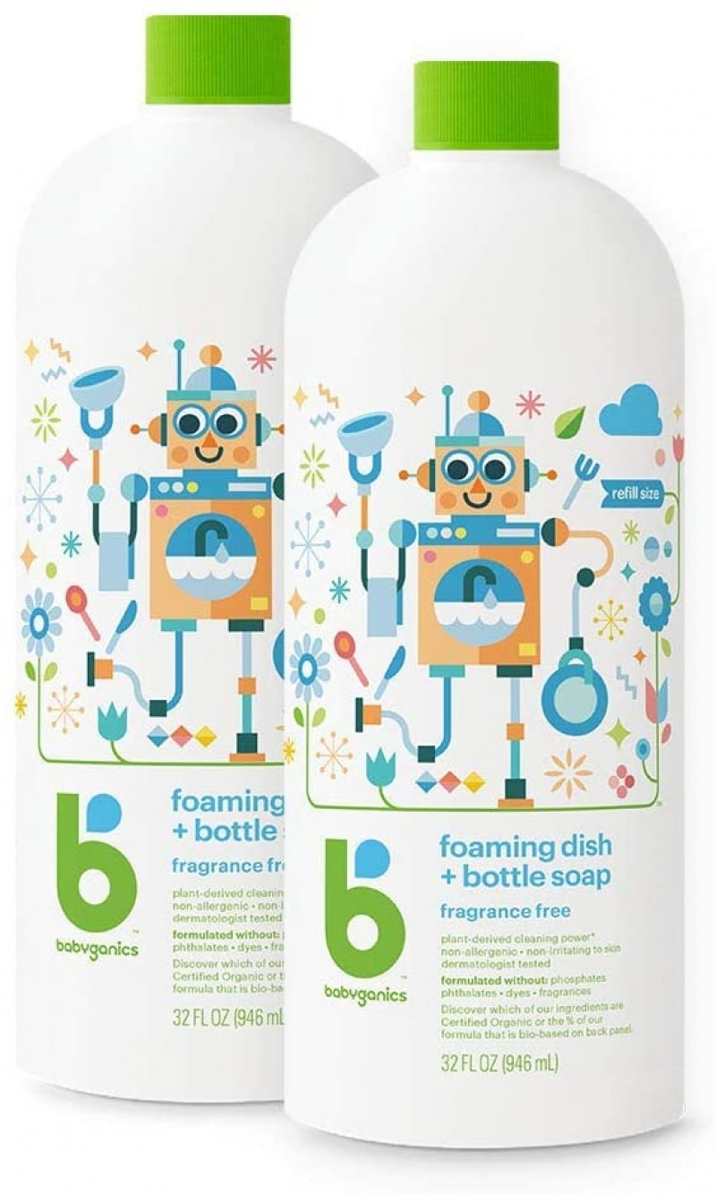 ihocon: Babyganics Foaming Dish & Bottle Soap , Fragrance Free, 32oz, 2 Pack 泡沫洗碗精