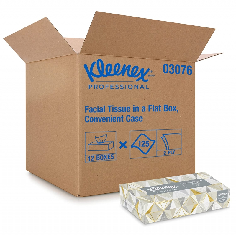ihocon: Kleenex Professional Facial Tissue, Flat Tissue Boxes, 12 Boxes, 125 Tissues / Box 面紙