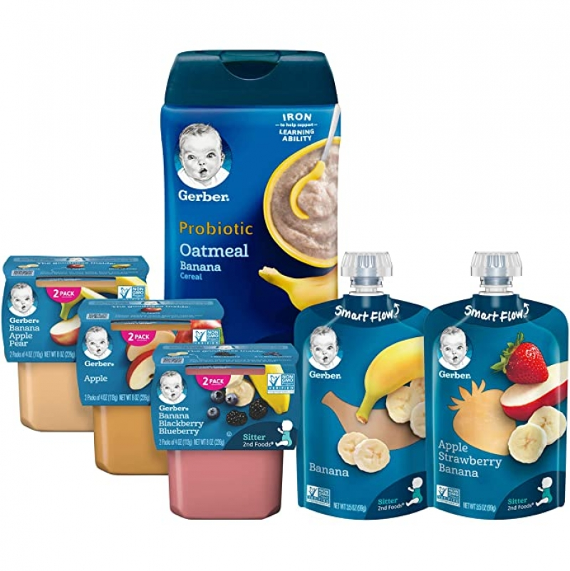 ihocon: Gerber Purees 2nd Foods Pouches, Puree Tubs & Probiotic Cereal Assorted Variety Pack, 12 Count 幼兒點心