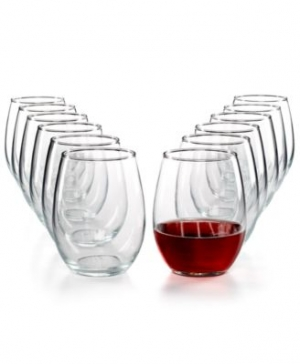 ihocon: Martha Stewart Essentials 12-Pc. Stemless Wine Glasses Set 酒杯