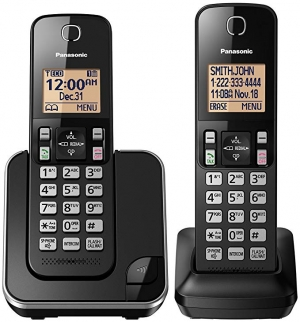 ihocon: PANASONIC Expandable Cordless Phone System with Amber Backlit Display and Call Block – 2 Handsets 家用無線電話
